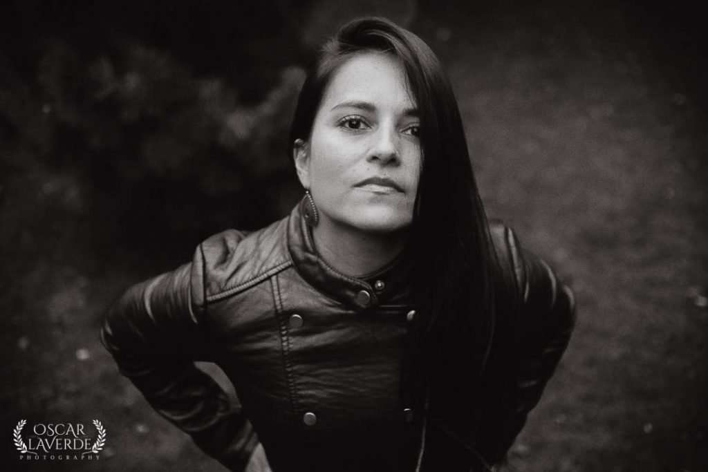 black and white portrait of woman