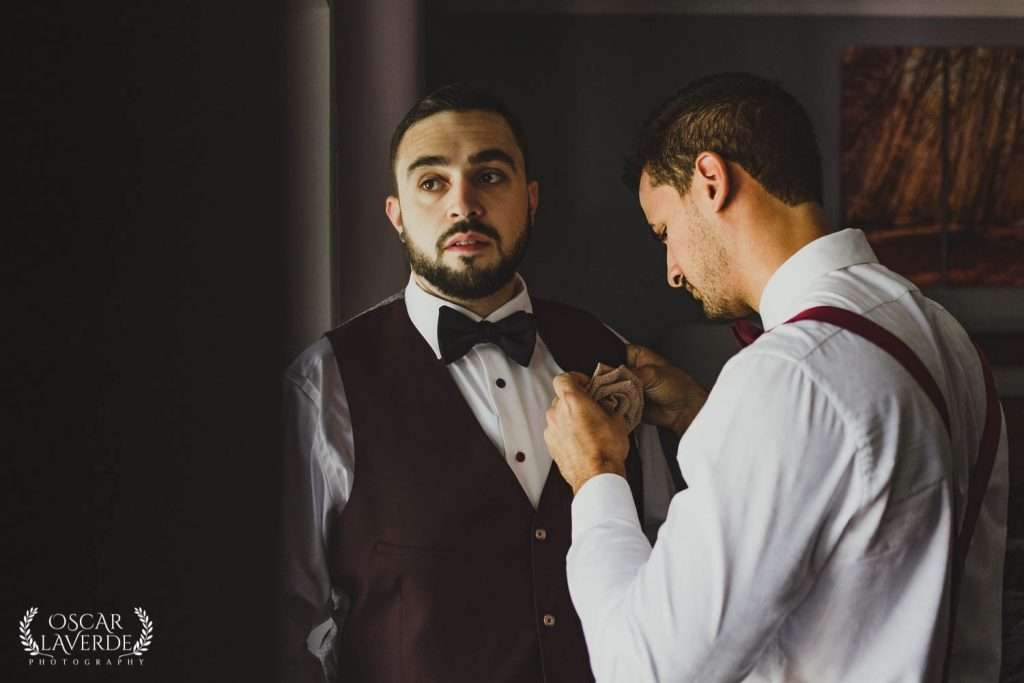 Groom getting ready before ceremony. London, Ontario Wedding Photographer
